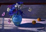 Anemones and a Blue Glass Vase, 1994 Poster Art Print by Sylvia Paul