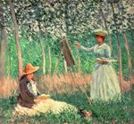 In the Woods at Giverny: Blanche Hoschede at her easel with Suzanne Hoschede reading, 1887 Poster Art Print by Claude Monet