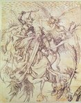 The Temptation of St. Anthony Poster Art Print by Martin Schongauer