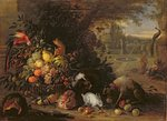 Still Life in a Garden, c.1700 Poster Art Print by Balthasar Denner