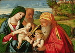 Holy Family with St. Simeon and John the Baptist, early 16th century Poster Art Print by Il Sassoferrato