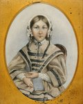 A young Florence Nightingale in an oval frame Poster Art Print by Kate Perugini