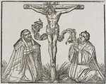Martin Luther and Frederick III of Saxony kneeling before Christ on the Cross, 1532-1600 Poster Art Print by Martin Schongauer