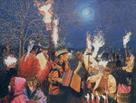 Fine Art Print of Wassailing in Herefordshire, 1995 by Huw S. Parsons