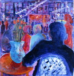 Night Cafe, 2008 Poster Art Print by Hilary Rosen