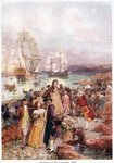 Landing of the Loyalists in 1783 Poster Art Print by English School