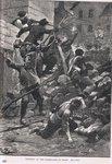 Fighting at the barricades in Paris, illustration from Cassell's 'Illustrated History of England', published c.1910 Poster Art Print by English School