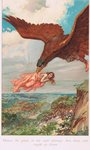 Thjassi, the giant in his eagle plumage, flew down and caught up Iduna, illustration from 'The Book of Sagas' by Alice S. Hoffman, published in 1926 Poster Art Print by Andre Jacques Victor Orsel