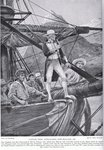 Captain Cook approaching New Zealand, illustration from 'Hutchinson's Story of the British Nation', c.1923 Poster Art Print by Oliver Frey