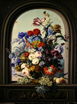 Still life of a niche with flowers Poster Art Print by Cornelis van Spaendonck