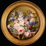 Still life with flowers in a basket Poster Art Print by Johann Baptist Drechsler