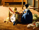 Interior of a Kitchen, detail of two children seated on the floor Poster Art Print by Clive Uptton