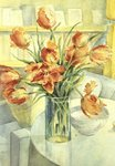 Artist's Tulips in the Drawing Room Poster Art Print by John Lidzey