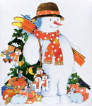 Fine Art Print of Snowman with Skis, 1998 by Christian Kaempf