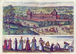 Arrival of Queen Elizabeth I at Nonesuch Palace and men and women from Tudor society, 1582 Poster Art Print by Joris Hoefnagel