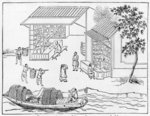 Porcelain shops and boats for transport of china, from a series of illustrations on the manufacture of china Poster Art Print by Chinese School