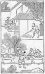 Washing the clay, from a series of illustrations of the manufacture of china Poster Art Print by Chinese School