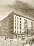 The Sherman Hotel, Chicago, in c.1870, from 'American Pictures' published by the Religious Tract Society, 1876