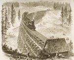 Trestle Bridge on the Pacific Railway, Sierra Nevada, c.1870, from 'American Pictures', published by The Religious Tract Society, 1876 Poster Art Print by English School