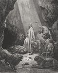 Daniel in the Den of Lions, Daniel 6:16-17, illustration from Dore's 'The Holy Bible', engraved by Piaud, 1866 Poster Art Print by Anonymous