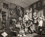 The Young Heir Takes Possession of the Miser's Effects, plate I from 'A Rake's Progress', from 'The Works of William Hogarth', published 1833 Poster Art Print by William Hogarth