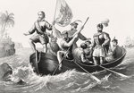 Christopher Columbus setting foot in San Salvador October 12, 1492 Poster Art Print by French School