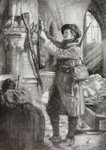 A french mountain infantry soldier hangs a German rifle, bayonet and helmet at the feet of a statue of St. Joan of Arc as an ex-voto offering in a ruined church during the First World War, after a work by Lucien Jonas, from 'L'Illustration', published in 1916 Poster Art Print by Charles-Michel-Ange Challe