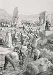 German prisoners of war at work excavating ruins of the Roman city of Volubilis, Morocco during the First World War, from L'Illustration, published in 1915 Poster Art Print by English School