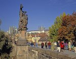 Statue on the Charles Bridge Poster Art Print by French School