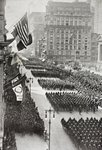 American troops marching down Fifth Avenue in New York on their return from Europe after the First World War, from 'L'Illustration', published in 1919