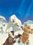 Polar Bears and Eskimos Poster Art Print by Francois Auguste Biard