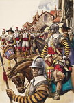 A group of pikemen of the New Model Army march into battle led by a drummer Poster Art Print by Ron Embleton