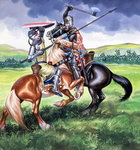 Robert the Bruce, King of Scotland about to kill Sir Henry de Bohum Poster Art Print by Janet and Anne Johnstone
