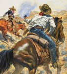 Cowboy and Mexican Poster Art Print by James Edwin McConnell