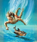 A young child diving as a tropical fish is startled Poster Art Print by Charles Joseph Travies de Villiers
