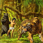 Boy with Bear and Tiger Poster Art Print by Patricia Espir