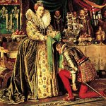 Queen Elizabeth I knighting Francis Drake Poster Art Print by Clive Uptton