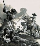 In 1858, two troops of Mexican cavalry attacked the Apaches' camp Poster Art Print by Ron Embleton