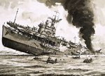 The sinking of HMS Dasher Poster Art Print by John S. Smith