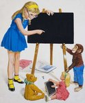 Girl with Blackboard Poster Art Print by Lavinia Hamer
