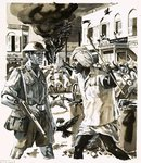 Riots during the era of Indian independence Poster Art Print by John Millar Watt