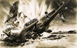 A Messerschmitt crash lands Poster Art Print by Wilf Hardy