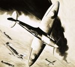 Unidentified Spitfire in dogfight with German fighters Poster Art Print by Frank Bellamy