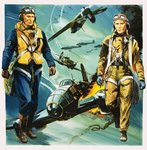 Wartime pilots and the Battle of Britain Poster Art Print by Frank Bellamy