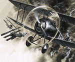 Unidentified dog fight between British biplanes and a German triplane Poster Art Print by English School