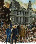 Fine Art Print of King George VI inspects the wreckage outside St Paul's Cathedral by Clive Uptton