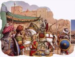 Saladin besieges Kerak Castle Poster Art Print by Pat Nicolle