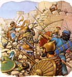Ruthless Assyrian 'sappers' attacking giant walls with hammers and crowbars