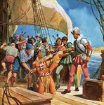 Operation Redskin. In 1605, Sir Ferdinando Gorges sailed to America and kidnapped five Indians so that the Lord Chief Justice could learn more about native Americans. Poster Art Print by Angus McBride