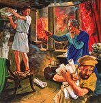 Fine Art Print of Galen trying to rescue his manuscripts during the great fire of Rome in AD 191 by Clive Uptton